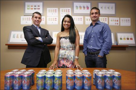 "Zevia, a Seattle company selling sodas using stevia, a rain forest herb, was founded by, from left, Derek Newman, wife Jessica Newman and Ian Eisenberg. ""There's a reason Diet Coke and Diet Pepsi don't have a lot of competition. We are on a crusade to get people to kick the diet soda habit,"" Jessica Newman says."